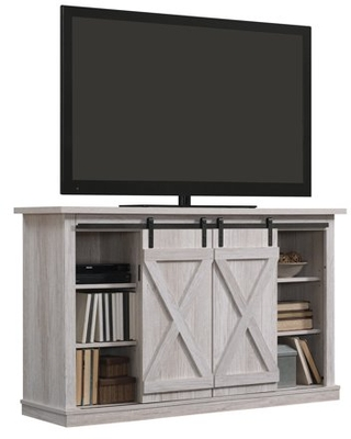 """Twin Star Home Terryville Barn Door TV Stand for TVs up to 60"""", White Oak"""