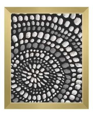"""'Radiant Dots White on Black' Framed Graphic Art Print Click Wall Art Format: Gold Framed, Size: 26.5"""" H x 22.5"""" W"""
