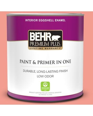 BEHR PREMIUM PLUS 1 qt. #170B-4 Cool Melon Eggshell Enamel Low Odor Interior Paint and Primer in One