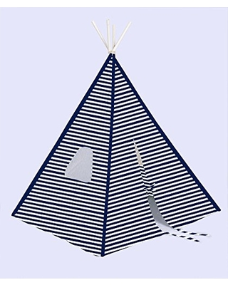 Bacati Stripes Teepee Tent for Kids 4, 100% Cotton Breathable Percale Fabric Cover, Navy