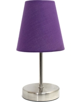 Simple Designs 10.5 in. Sand Nickel Mini Basic Table Lamp with Purple Fabric Shade