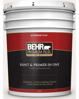 BEHR Premium Plus 5 gal. #pwn-26 Icing Rose Flat Exterior Paint and Primer in One