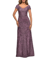 La Femme Embellished Lace Gown, Size 12 in Dusty Lilac at Nordstrom