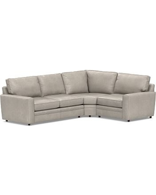 Pearce Square Arm Leather Left Arm 3-Piece Wedge Sectional, Down Blend Wrapped Cushions, Leather Statesville Pebble
