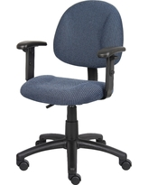 Deluxe Posture Chair with Adjustable Arms Blue - Boss Office Products