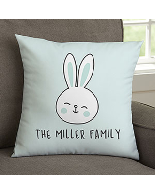 Easter Bunny Family Personalized Velvet Throw Pillow - 14-inch