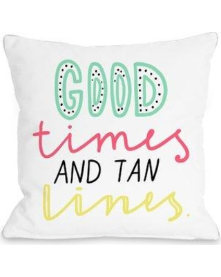 "Ivy Bronx Farnham Good Times and Tan Lines Throw Pillow IVYB2285 Size: 18"" H x 18"" W x 3"" D"