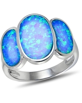 Created Blue Opal Sterling Silver Triple-Oval Fashion Ring