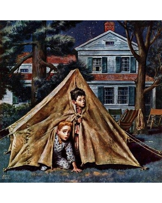 "Marmont Hill Backyard Campers by Amos Sewell Painting Print on Wrapped Canvas MH-RETR-252-C- Size: 32"" H x 32"" W"