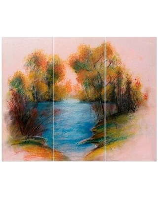 East Urban Home 'Blue River in Golden Sunset' Oil Painting Print Multi-Piece Image on Wrapped Canvas FCIV5205