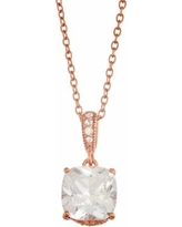 """Lily & Lace Cubic Zirconia 14k Rose Gold Over Bronze Pendant Necklace, Women's, Size: 18"""", White"""