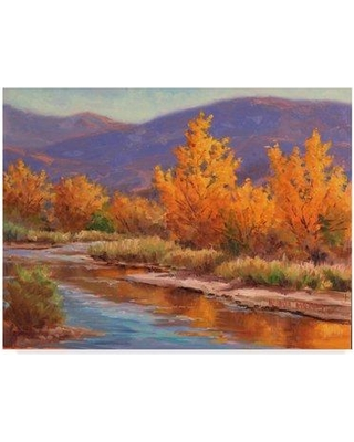 """Charlton Home 'Autumn River Centered' Acrylic Painting Print on Wrapped Canvas CRLM2867 Size: 35"""" H x 47"""" W x 2"""" D"""