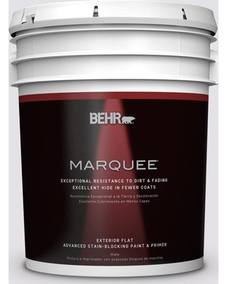 BEHR MARQUEE 5 gal. #PR-W02 Early Crocus Flat Exterior Paint and Primer in One