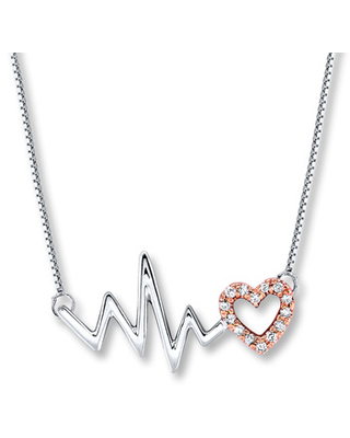 Jared Heartbeat Necklace 1/10 ct tw Diamonds Sterling Silver/10K Gold