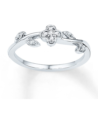 Midi Flower Ring Diamond Accents Sterling Silver