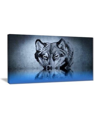"""East Urban Home 'Wolf Head with Water Reflections Tattoo' Graphic Art Print on Canvas EAAE7774 Size: 40 """" W x 20 """" H"""
