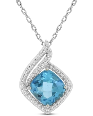 """Blue Topaz & Lab-Created White Sapphire Necklace Sterling Silver 18"""""""