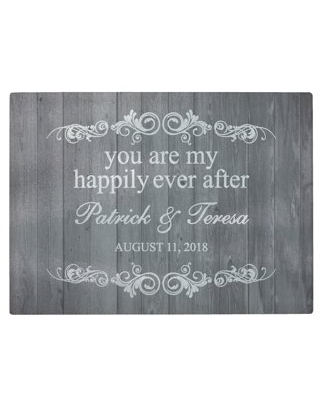 Personalized You Are My Happily Ever After Glass Cutting Board, Available in 3 Colors