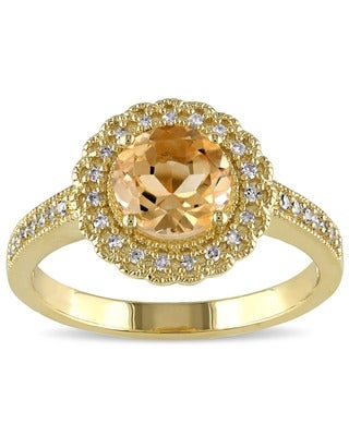 Miadora Yellow Plated Silver Citrine and 1/6ct TDW Diamond Ring (G-H, I2-I3) (Size 7)