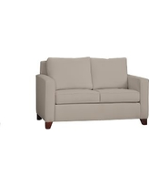 "Cameron Square Arm Upholstered Loveseat 60"", Polyester Wrapped Cushions, Performance Twill Stone"