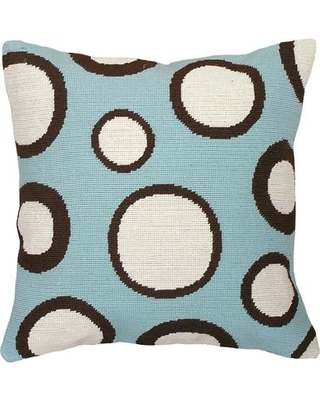 123 Creations Dots Needlepoint Wool Throw Pillow C73118x18 Color: Blue