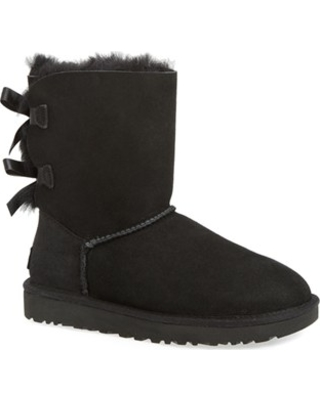 Women's UGG Bailey Bow Ii Genuine Shearling Boot, Size 5 M - Black