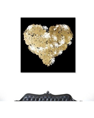 """Mercer41 'Gold Hearted' Graphic Art Print on Wrapped Canvas MCRF3947 Size: 24"""" H x 24"""" W"""