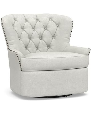Cardiff Upholstered Tufted Swivel Armchair, Polyester Wrapped Cushions,  Basketweave Slub Ivory