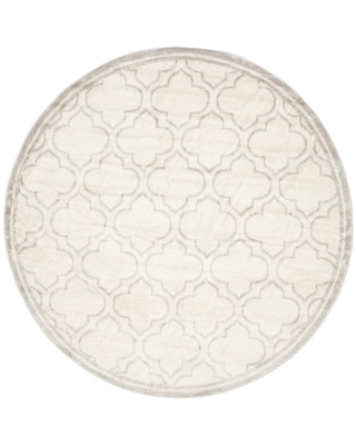 Safavieh Amherst Moroccan 7 x 7 Ivory/Light Gray Round Indoor or Outdoor Trellis Farmhouse/Cottage Area Rug | AMT412E-7R