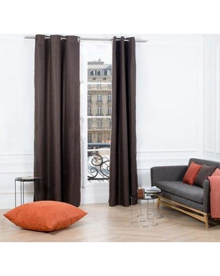 "Madura Coconut Solid Grommet Single Curtain Panel MAUS2553 Size: 57.09"" W x 108.03"" L Color: Dark Brown"