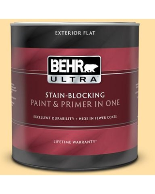 BEHR ULTRA 1 qt. #310A-3 Manila Tint Flat Exterior Paint and Primer in One