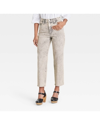 Women's High-Rise Vintage Straight Cropped Jeans - Universal Thread Gray Wash 18 Long