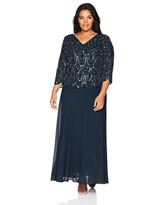J Kara Women's Plus Size 3/4 Sleeve with Scallop Beaded Pop Over Gown, Navy/Shaded, 14W