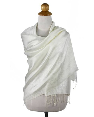 Flowers on Cream Color Silk Blend Shawl from Thailand