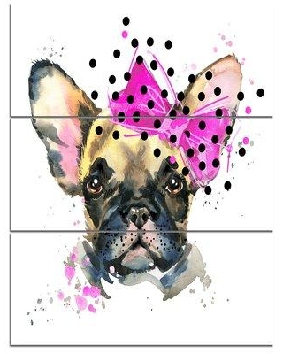 Design Art 'Fashionable French Bulldog' 3 Piece Wall Art on Wrapped Canvas Set PT13389-3PV
