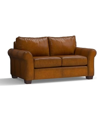 "PB Comfort Roll Arm Leather Loveseat 68.5"", Polyester Wrapped Cushions, Leather Burnished Bourbon"