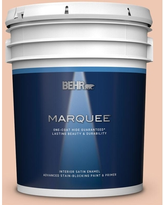 BEHR MARQUEE 5 gal. #240E-2 Peach Bud Satin Enamel Interior Paint and Primer in One