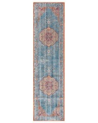 "Bungalow Rose Mea-Mebara Oriental Blue/Red Area Rug X113618684 Rug Size: Rectangle 2'2"" x 4'"