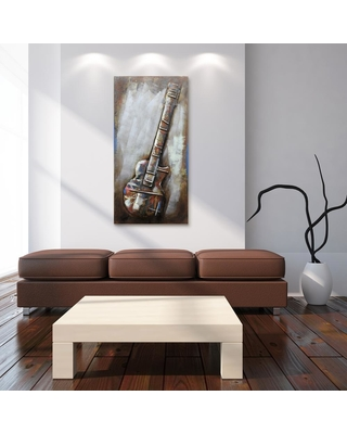 """Empire Art Direct 48 in. x 24 in. """"Electric Guitar"""" Mixed Media Iron Hand Painted Dimensional Wall Art, Multi Color"""