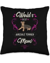 Rasocity World's Best Airedale Terrier Mom Dog Breed Owner Throw Pillow, 16x16, Multicolor