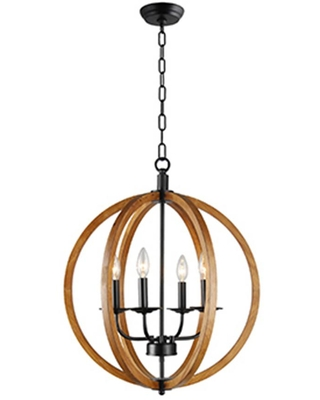 Rockies Containers 4-Light Black Metal and Natural Wood Globe Chandelier