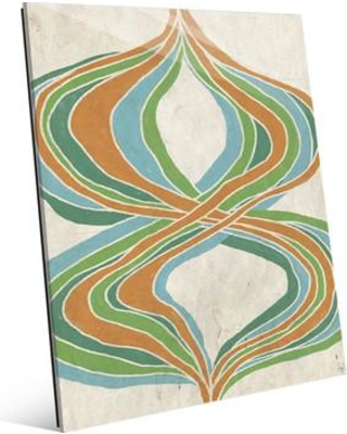 """Click Wall Art 'Threads of Time Green and Orange' Print of Painting on Glass CBS0002768GLS Size: 24"""" H x 20"""" W x 1"""" D"""