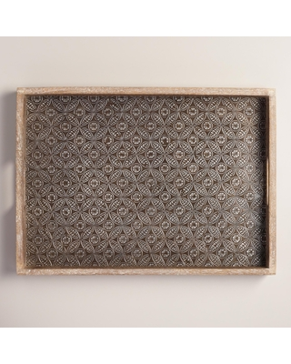 Embossed Wood And Metal Serving Tray: Natural by World Market