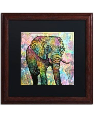 "Trademark Art 'Elephant Torn' by Dean Russo Framed Graphic Art ALI2649-W1 Size: 16"" H x 16"" W x 0.5"" D Matte Color: Black"
