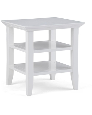 Brooklyn + Max Brunswick Solid Wood 19 inch Wide Square Rustic End Table in White