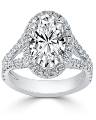 Auriya 14k Gold 5 1/4cttw Oval-cut Halo Diamond Engagement Ring Certified (White - 9.5)