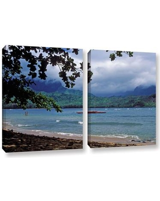 "ArtWall Red Canoe on Hanalei Bay by Kathy Yates 2 Piece Photographic Print on Canvas Set 0yat058bw Size: 18"" H x 28"" W x 2"" D"