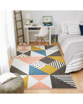 Mohawk Home Prismatic Geo Art Multi Contemporary Abstract Precision Printed Area Rug, 10'x14', Ivory & Pink