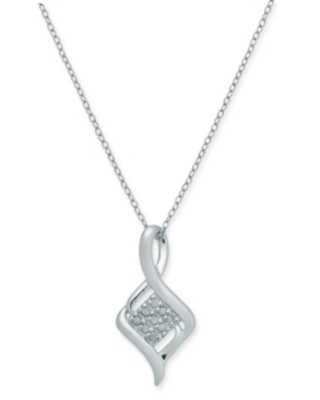 """Diamond Cluster Twist 18"""" Pendant Necklace (1/10 ct. t.w.) in Sterling Silver"""
