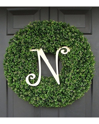 Extra Full Outdoor Artificial Faux Boxwood Wreath with Monogram, Welcome Guests with Decorative Front Door for Outdoor Indoor Home Wall Accent Décor All Seasons and Holidays 16-26 inch